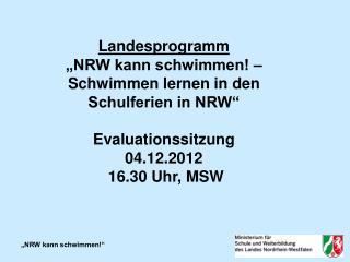 """Landesprogramm """"NRW kann schwimmen! – Schwimmen lernen in den Schulferien in NRW"""""""