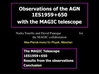 Observations of the AGN 1ES1959+650  with the MAGIC telescope