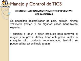 Manejo y Control de TICS
