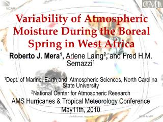 Variability of Atmospheric Moisture During the Boreal Spring in West Africa