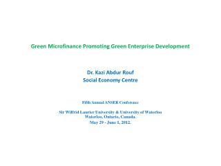 Green Microfinance Promoting Green Enterprise Development