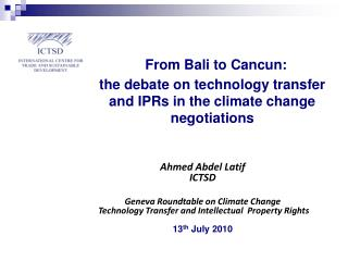 Ahmed Abdel Latif ICTSD Geneva Roundtable on Climate Change