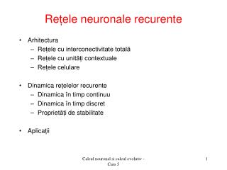 Re ț ele neuronale recurente