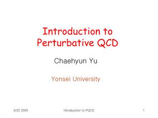 Introduction to  Perturbative QCD