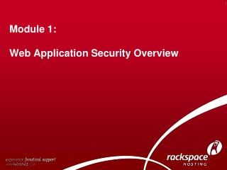 Module 1:  Web Application Security Overview