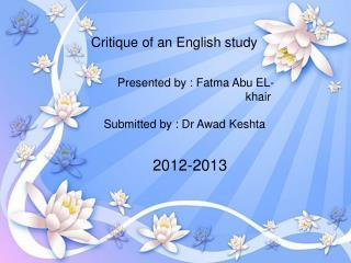 Critique of an English study