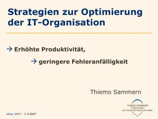 Strategien zur Optimierung  der IT-Organisation