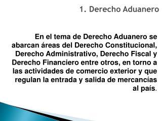 1. Derecho Aduanero