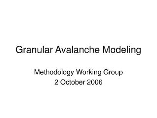 Granular Avalanche Modeling
