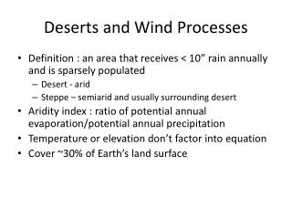 Deserts and Wind Processes