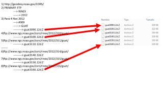 1) geodesy.noaa/CORS/ 2) PRIMARY: FTP ---> RINEX ------> 2012 3) Para 4 Nov 2012