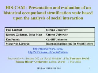 HIS-CAM - Presentation and evaluation of an historical occupational stratification scale based upon the analysis of soci