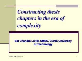Constructing thesis chapters in the era of complexity