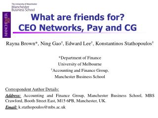 What are friends for? CEO Networks, Pay and CG