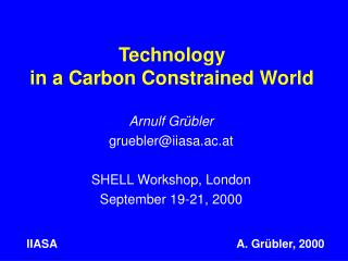 Technology  in a Carbon Constrained World