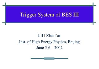 Trigger System of BES III