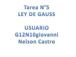 Tarea N°5 LEY DE GAUSS USUARIO G12N10giovanni Nelson Castro