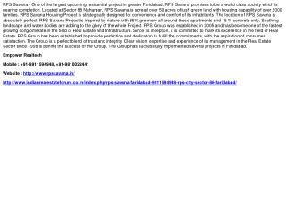 RPS Savana Faridabad, 9911594948, RPS City Sector 88 Faridab