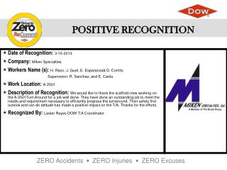 Date of Recognition :  3-15-2013 Company :  Miken Specialties
