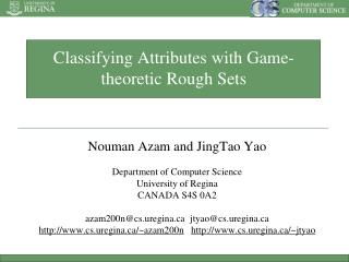 Classifying Attributes with Game-theoretic Rough Sets