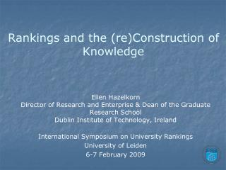 Rankings and the (re)Construction of Knowledge