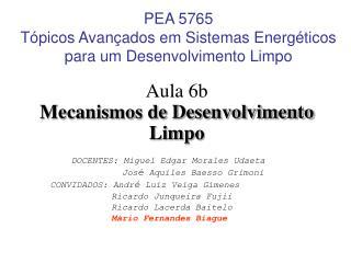 PEA 5765 Tópicos Avançados em Sistemas Energéticos para um Desenvolvimento Limpo
