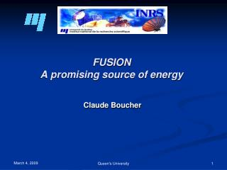 FUSION A promising source of energy
