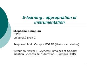 E-learning : appropriation et instrumentation