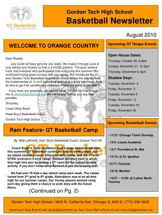 Gordon Tech High School Basketball Newsletter