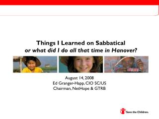 Things I Learned on Sabbatical or what did I do all that time in Hanover?