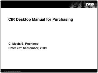 CIR Desktop Manual for Purchasing