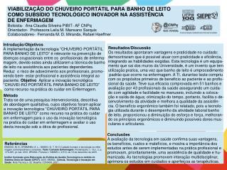 """Introdução/Objetivos A implementação da tecnologia """"CHUVEIRO PORTÁTIL"""
