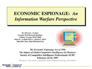 ECONOMIC ESPIONAGE:   An Information Warfare Perspective