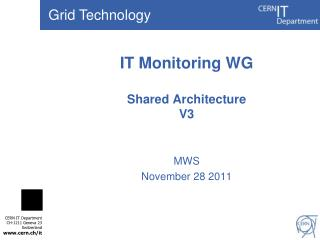 IT Monitoring WG Shared Architecture V3