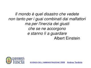 SCIENZA DELL'AMMINISTRAZIONE  2008 Andrea Tardiola