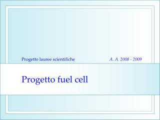 Progetto fuel cell