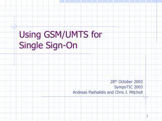 Using GSM/UMTS for Single Sign-On