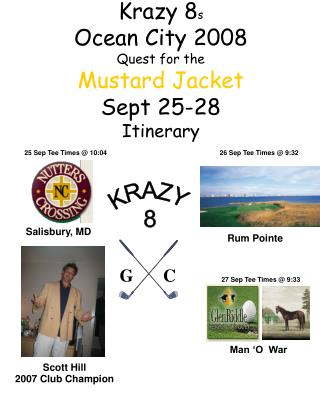 Krazy 8 s Ocean City 2008 Quest for the Mustard Jacket Sept 25-28 Itinerary