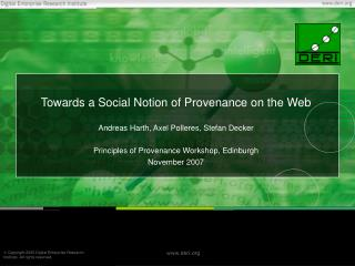 Towards a Social Notion of Provenance on the Web