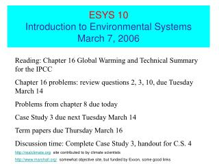 ESYS 10 Introduction to Environmental Systems  March 7, 2006