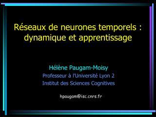 R seaux de neurones temporels : dynamique et apprentissage