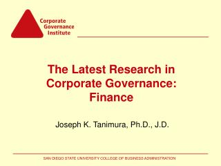 The Latest Research in Corporate Governance: Finance