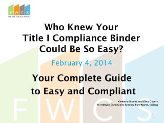 Who Knew Your  Title I Compliance Binder  Could Be So Easy?