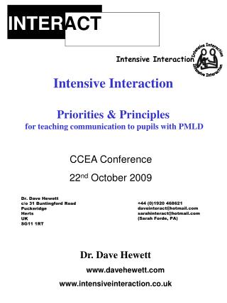 Dr. Dave Hewett davehewett intensiveinteraction