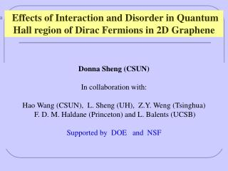 Effects of Interaction and Disorder in Quantum Hall region of Dirac Fermions in 2D Graphene