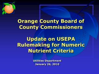 Utilities Department January 26, 2010