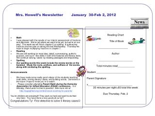 Mrs. Howell's Newsletter       January  30-Feb 2, 2012