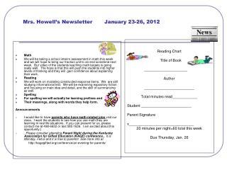 Mrs. Howell's Newsletter       January 23-26, 2012