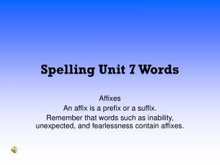 Spelling Unit 7 Words
