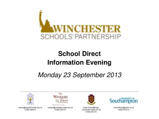 School Direct  Information Evening Monday 23 September 2013